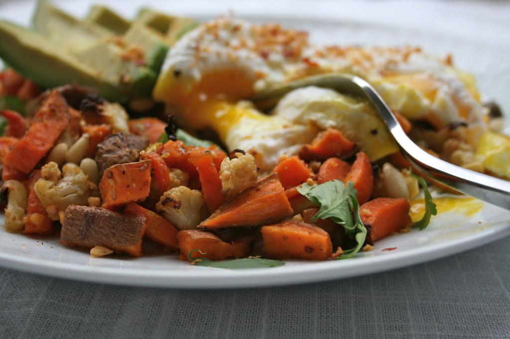 Poached Eggs Over Dukkah Vegetable Hash