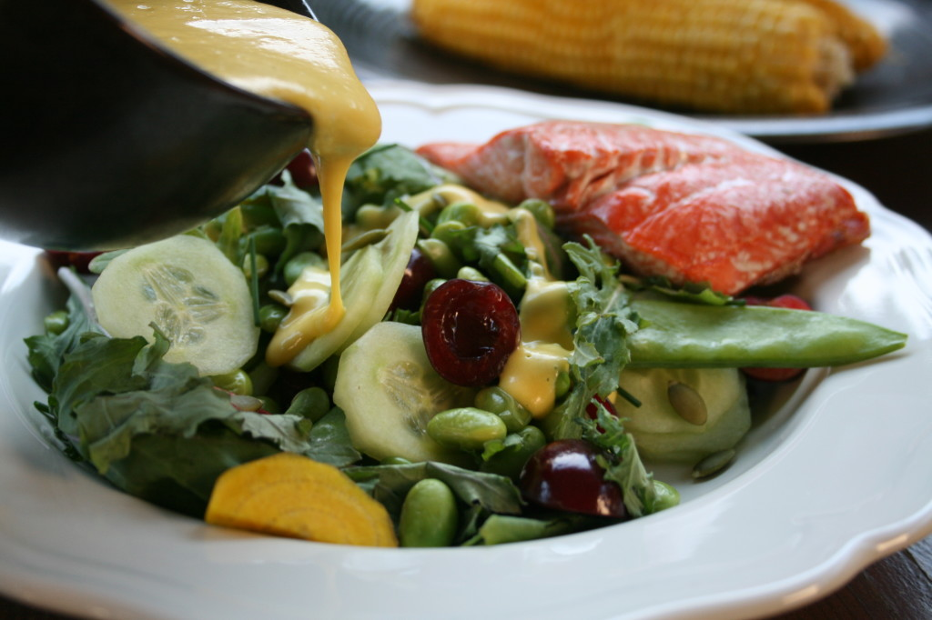 Cherry Edamame Salad with Peach Dressing