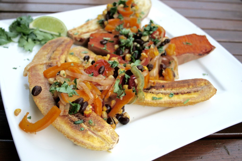 Black Bean Mango Fajita Plantain and Yam Boats