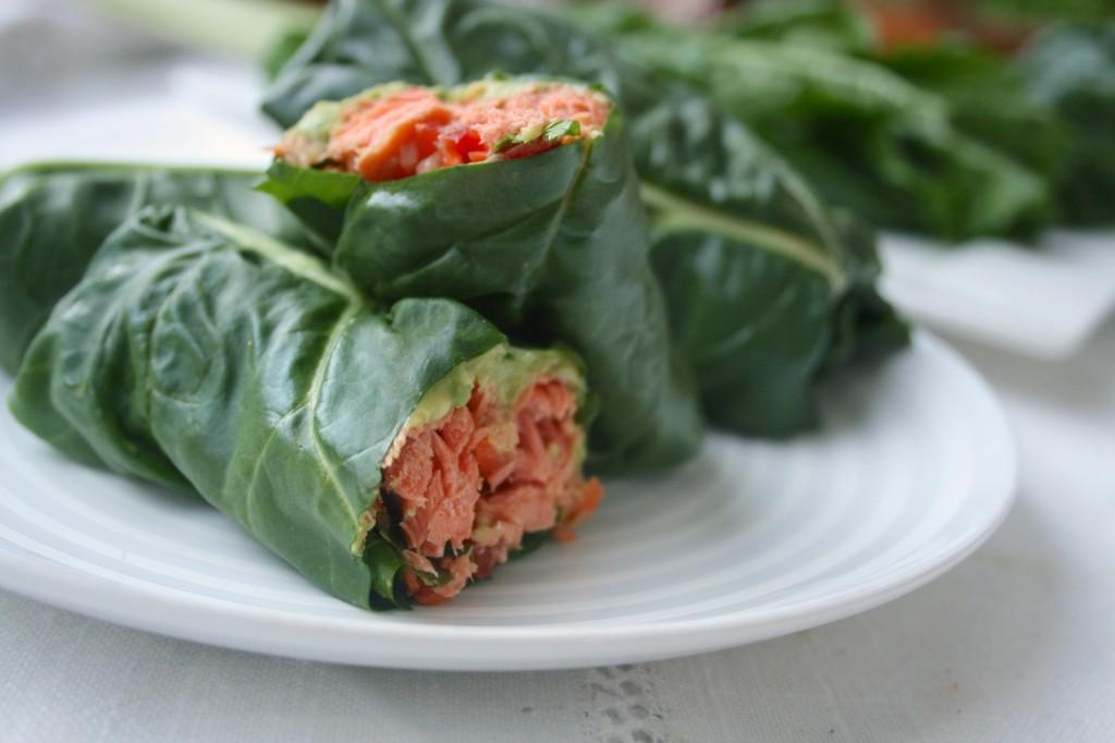 Swiss Chard Salmon Wraps with Kimchi Slaw
