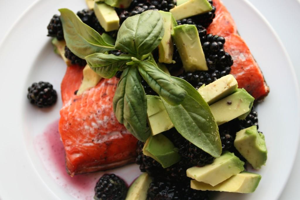 Salmon with Blackberry Avocado Salsa