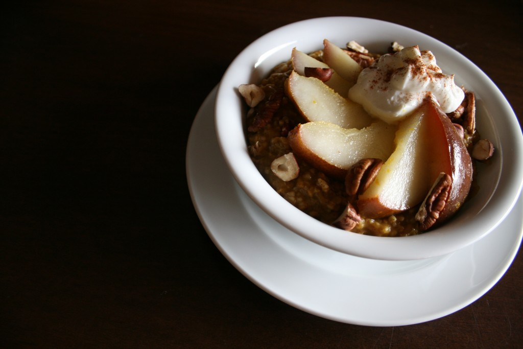 Vanilla Pumpkin Steel Cut Oats with Ginger Orange Poached Pears