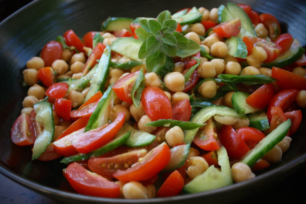 Cherry Tomato, Cucumber and Chickpea Salad