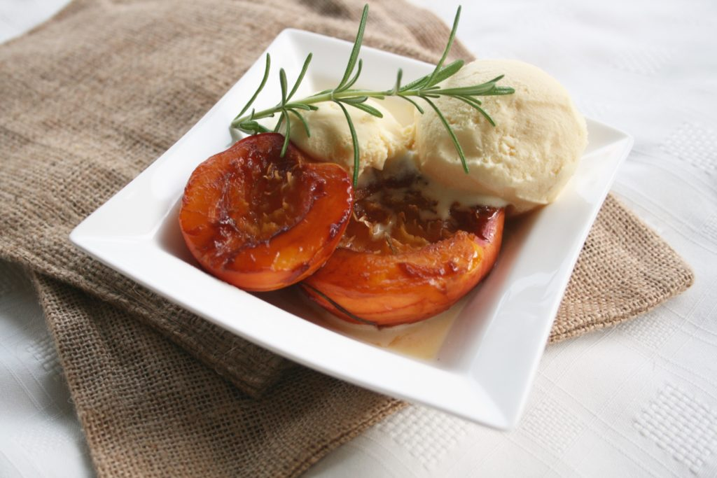 Baked Maple Balsamic Rosemary Nectarines