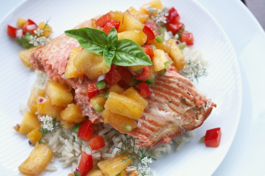 Cedar Planked Lime Salmon with Peach Salsa