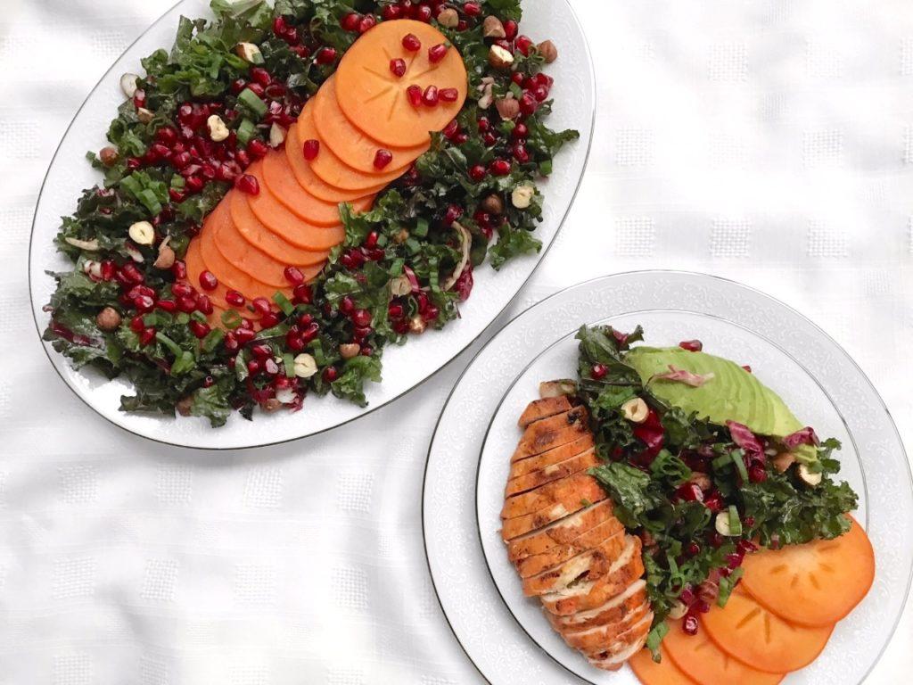 Persimmon Pomegranate Kale Salad